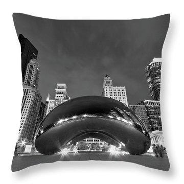 Cloud Gate And Skyline Throw Pillow by Adam Romanowicz