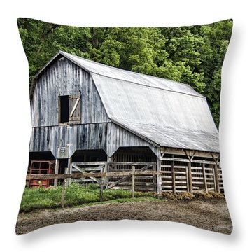 Clubhouse Road Barn Throw Pillow by Cricket Hackmann