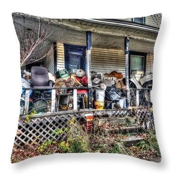Clutter House Porch  Throw Pillow by Dan Friend