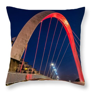 Clyde Arc Glasgow  Throw Pillow by John Farnan