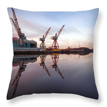 Clydeside Cranes Long Exposure Throw Pillow by John Farnan