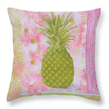 Coastal Decorative Pink Green Floral Greek Pattern Fruit Art Fresh Pineapple By Madart Throw Pillow by Megan Duncanson