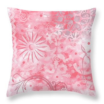 Coastal Decorative Pink Peach Floral Chevron Pattern Art Pink Whimsy By Madart Throw Pillow by Megan Duncanson