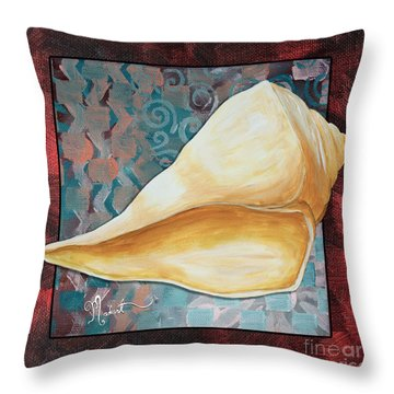 Coastal Decorative Shell Art Original Painting Sand Dollars Asian Influence II By Megan Duncanson Throw Pillow by Megan Duncanson