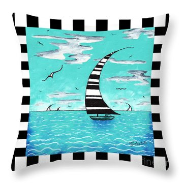 Coastal Nautical Decorative Art Original Painting With Stripes Refreshing By Madart Throw Pillow by Megan Duncanson