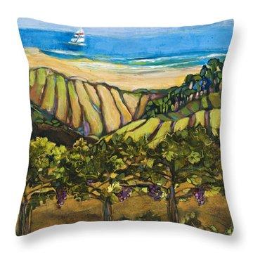 California Coastal Vineyards And Sail Boat Throw Pillow by Jen Norton