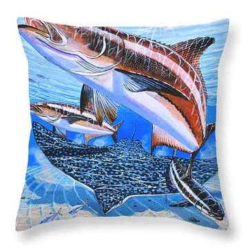 Cobia On Rays Throw Pillow by Carey Chen
