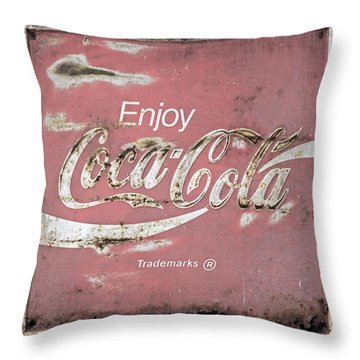 Coca Cola Pastel Grunge Sign Throw Pillow by John Stephens