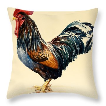Cockerel Throw Pillow by Alison Cooper