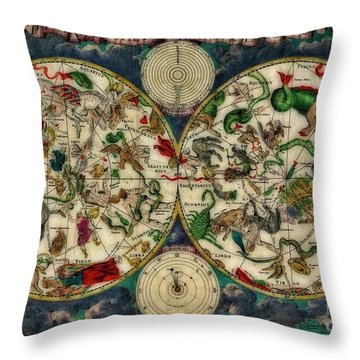 Coeletste Old World Map Throw Pillow by Inspired Nature Photography Fine Art Photography