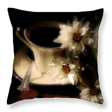 Coffee And Daisies  Throw Pillow by Lois Bryan