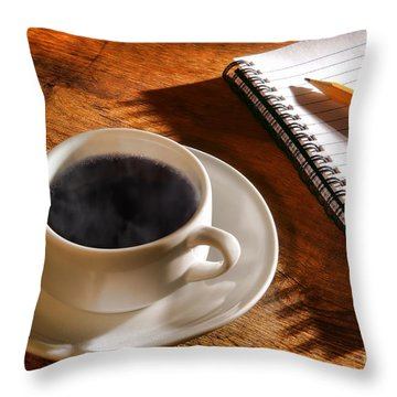 Coffee For The Writer Throw Pillow by Olivier Le Queinec