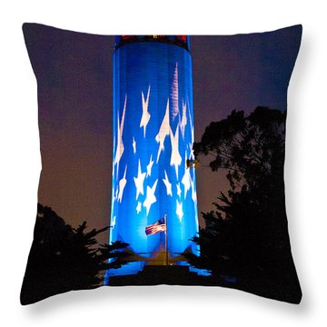 Coit Tower On The Anniversary Of 9/11 Throw Pillow by Patricia Sanders