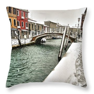 Throw Pillow featuring the photograph Cold Winter In Venice by Thierry Bouriat