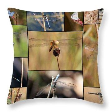 Collage Marsh Life Throw Pillow by Carol Groenen