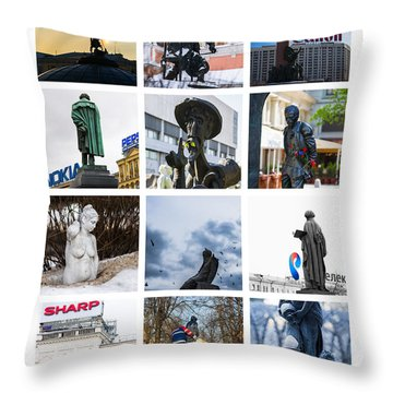 Collage - Moscow Monuments - Featured 3 Throw Pillow by Alexander Senin