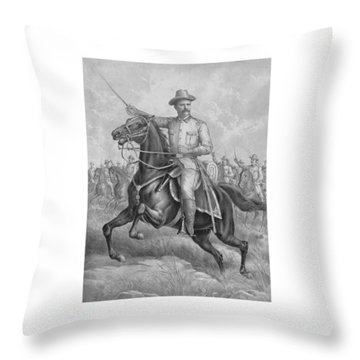 Colonel Roosevelt Leading Troops Throw Pillow by War Is Hell Store