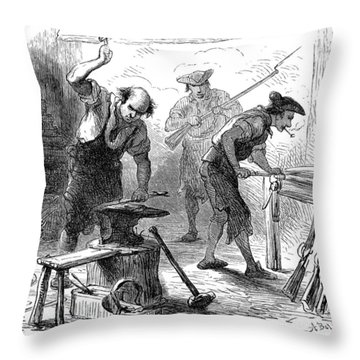 Colonial Blacksmith, 1776 Throw Pillow by Granger