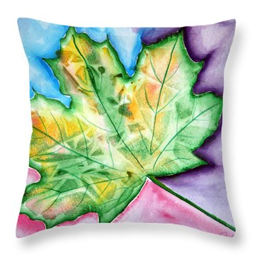 Color Leaf Throw Pillow by Dani Abbott