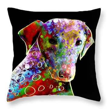 Color Splash Abstract Dog Art  Throw Pillow by Ann Powell