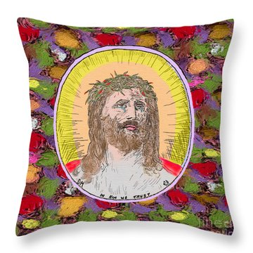 Colored Background Jesus Throw Pillow by Donna Munro