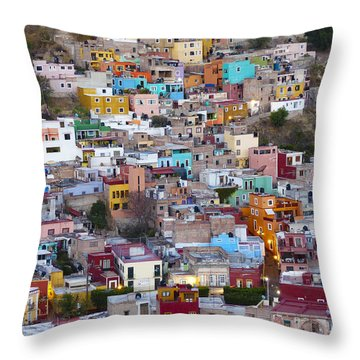 Colored Homes Throw Pillow by Douglas J Fisher
