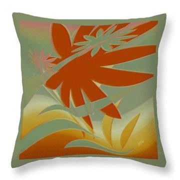 Colored Jungle Orange Splash Throw Pillow by Ben and Raisa Gertsberg
