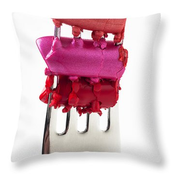 Colored Lipstick On Fork Throw Pillow by Garry Gay