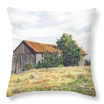 Colored Pencil Barn Throw Pillow by Marshall Bannister