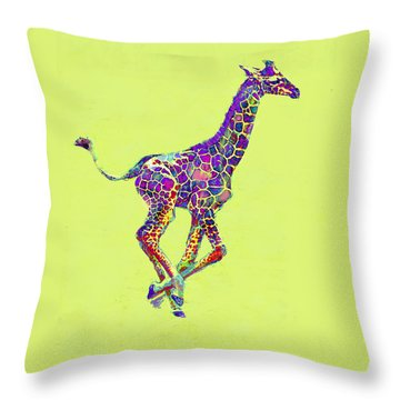 Colorful Baby Giraffe Throw Pillow by Jane Schnetlage