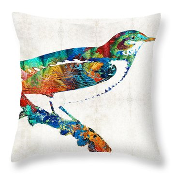 Colorful Bird Art - Sweet Song - By Sharon Cummings Throw Pillow by Sharon Cummings