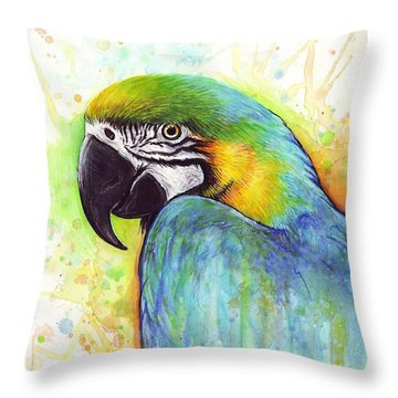 Macaw Watercolor Throw Pillow by Olga Shvartsur