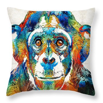 Colorful Chimp Art - Monkey Business - By Sharon Cummings Throw Pillow by Sharon Cummings