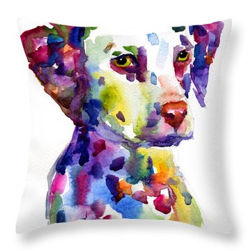 Colorful Dalmatian Puppy Dog Portrait Art Throw Pillow by Svetlana Novikova