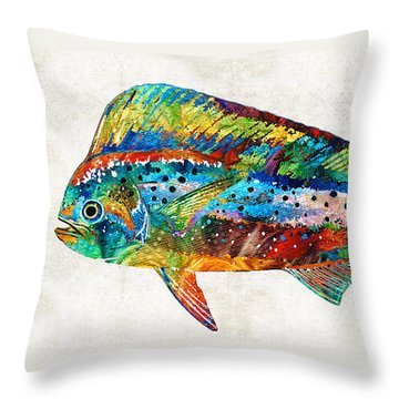 Colorful Dolphin Fish By Sharon Cummings Throw Pillow by Sharon Cummings