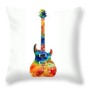 Colorful Electric Guitar 2 - Abstract Art By Sharon Cummings Throw Pillow by Sharon Cummings