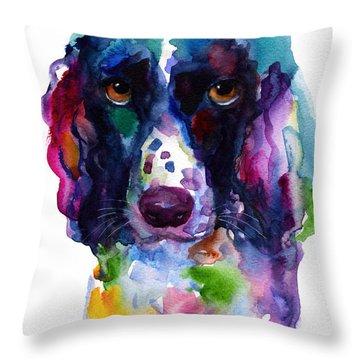 Colorful English Springer Setter Spaniel Dog Portrait Art Throw Pillow by Svetlana Novikova