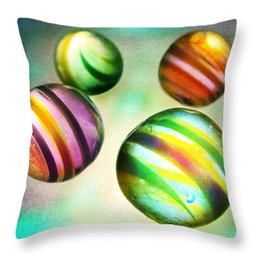 Colorful Glass Marbles Throw Pillow by Marianna Mills