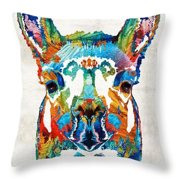 Colorful Llama Art - The Prince - By Sharon Cummings Throw Pillow by Sharon Cummings