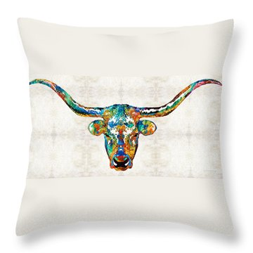 Colorful Longhorn Art By Sharon Cummings Throw Pillow by Sharon Cummings