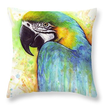 Macaw Painting Throw Pillow by Olga Shvartsur