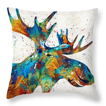 Colorful Moose Art - Confetti - By Sharon Cummings Throw Pillow by Sharon Cummings