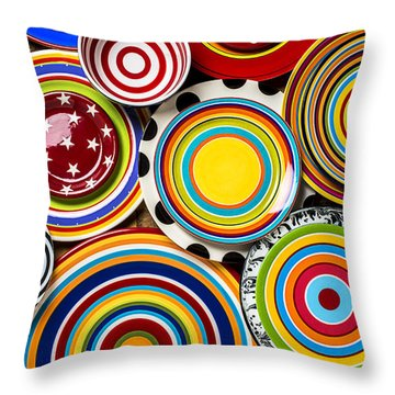Colorful Plates Throw Pillow by Garry Gay