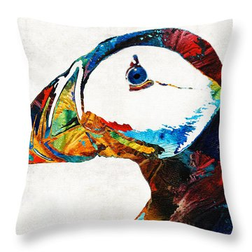 Colorful Puffin Art By Sharon Cummings Throw Pillow by Sharon Cummings