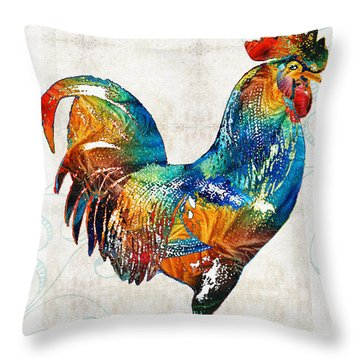 Colorful Rooster Art By Sharon Cummings Throw Pillow by Sharon Cummings