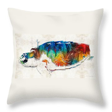 Colorful Sea Turtle By Sharon Cummings Throw Pillow by Sharon Cummings