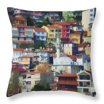 Colorful Town Throw Pillow by Joan Carroll