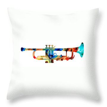 Colorful Trumpet Art By Sharon Cummings Throw Pillow by Sharon Cummings