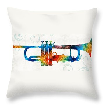 Colorful Trumpet Art Color Fusion By Sharon Cummings Throw Pillow by Sharon Cummings