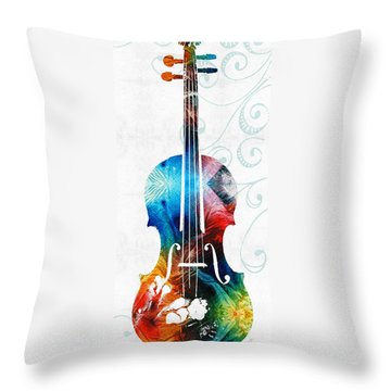 Colorful Violin Art By Sharon Cummings Throw Pillow by Sharon Cummings